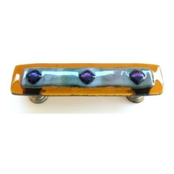 Uneek Glass Fusions - Amber, Green Wisps, and Blue Iridescent Glass Pull - Collection: Strato