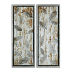"Uttermost - Pressed Leaves, Set of 2 - Utterly calm and serene, these pressed leaves panels can quiet a racing pulse, smooth out your breathing and have you sighing ""Namaste"" under your breath. Hand-painted and mounted on stretcher bars, the art has a high gloss finish and is framed by a silver leaf base with champagne wash. Peaceful and relaxing."