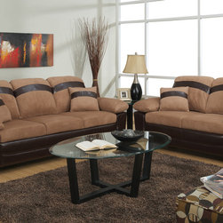 Saddle Microfiber Sofa Couch Loveseat Storage Base Living Room Set - Captivate your guests with this stylish chocolate colored microfiber sofa set with oversized arm, back and leg supports. It features a dark brown brown frame and matching accent horizontal stripe across the back supports and on the complimentary pillows. Also features flip up seating w/ storage.
