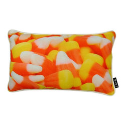 Lava - Candy Corn 17 x 10 Pillow (Indoor/Outdoor) - 100% polyester cover and fill. Suitable for use indoors or out. Made in USA. Spot clean only