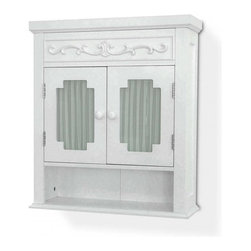 Elegant Home Fashions - Lisbon Wall Cabinet - The Lisbon Wall Cabinet from Elegant Home Fashions has an elegant crown molded top with glass door that offers storage with style for your bath.  Drapery lines the back of the windows as a stylish feature. It is functional with one open fixed shelf and one adjustable interior shelf. It also features white knobs for easy opening. The cabinet comes with assembly hardware.