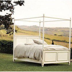 Ballard Designs - Louis XVI Poster Bed - Drape the canopy in your own fabric. Finishes inspired by the colors of Tuscany. Crafted in Italy. Includes side rails & supports. Our Louis XVI Poster Bed captures the romance of 18th century French style. The head and footboards have raised panel details, fluted posters with carved rosettes and crowning flame finials. Part of our exclusive Casa Florentina collection, it's available in your choice of several hand-applied finishes. Skilled Italian artisans apply your custom finish in layers, distressing each one by hand using the same simple tools and techniques employed by Florentine artists for centuries. Assembly required.Louis XVI Poster Bed features: . . . .
