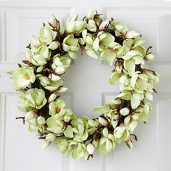 Jane Seymour Light Green Tulip Magnolia 24-in. Wreath