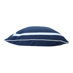 The Pillow Studio - Navy Blue Linen Pillow Cover with White Inset Border and Piping - This pillow can pull the design of an enitre room together. It is shown here in the blue/white but the options are endless.