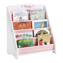 Guidecraft Expressions White Book Display with Personalization - Your little bookworm is going to love having his or her very own Guidecraft Expressions White Book Display with Personalization. Built tough out of furniture-grade wood, this book display will be their very own thanks to the personalization options, which include name, choice of font, font color, and awesome graphic. Four sling-style canvas book pockets can hold up to 20 books, and the white finish looks great in any bedroom or playroom. Safety tested for ages two and up.About GuidecraftGuidecraft was founded in 1964 in a small woodshop, producing 10 items. Today, Guidecraft's line includes over 160 educational toys and furnishings. The company's size has changed, but their mission remains the same; stay true to the tradition of smart, beautifully crafted wood products, which allow children's minds and imaginations room to truly wonder and grow.Guidecraft plans to continue far into the future with what they do best, while always giving their loyal customers what they have come to expect: expert quality, excellent service, and an ever-growing collection of creativity-inspiring products for children.