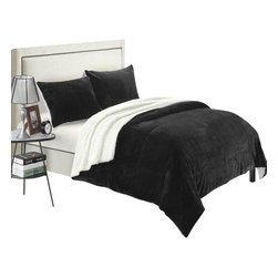 Chic Home - Evie Plush Microsuede Sherpa Lined Black Queen 7 Piece Blanket in a Bag Set - Think of your favorite sherpa lined soft cozy boots and bring that feeling to your bed. This is what this Blanket feels like. Extremely soft and cozy plush fabrication that is sherpa lined and the top of bed is plush micro suede. Updated fashion colors will match any decor. Pillow shams with the same detail will keep you warm all over. The Sherpa detail comes through the top of the bed to give you the added design elements.