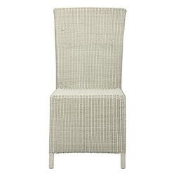 """Captiva Seaside White Side Chair - A new dining dress code. All-weather wicker with a seaside white finish """"slipcovers"""" a powdercoated aluminum frame that can move from the dining room to the patio and back again. Clean-lined, comfortable side chair has a generous seat and high, angled back."""