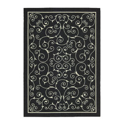 Nourison - Nourison Home And Garden Rs019 Black Area Rug - As the name suggests, the beautiful Nourison Home Garden rugs can be used both inside and outdoors. Their range of stunning patterns and designs makes these rugs ideal for a casual indoor room that desires a cheerful and bright feeling. The Home Garden rugs are long lasting and durable under any outdoor weather conditions through UV and mildew protection, fade resistance and ease to clean. Comfortable and welcoming, these rugs are a must for any home.