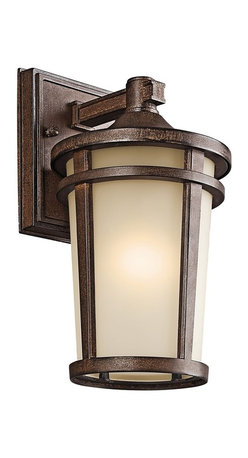 BUILDER - BUILDER Atwood Energy Efficient Transitional Outdoor Wall Sconce X-LFTSB17094 - Gentle tapering compliments the subtle traditional look of this Kichler Lighting outdoor wall sconce. From the Atwood Collection, the mission details are accentuated by a light umber mist glass shade and warm Brown Stone finish. Meets Energy Star and Title 24 requirements. Rated for wet locations.
