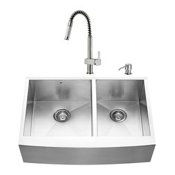 "VIGO Industries - VIGO All in One 33-inch Farmhouse Stainless Steel Double Bowl Kitchen Sink and F - Add elegance and style to your kitchen with a VIGO All in One Kitchen Set featuring a 33"" Farmhouse -  Apron Front sink, faucet, soap dispenser, two matching bottom grids and two strainers."