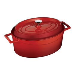 Lava Metal Dokum San. Tic. A.S. - Lava Signature Enameled Cast Iron 4.5 Qt. Oval Dutch Oven, Cayenne Red - Lava's Signature Oval 4-1/4 Quart capacity Dutch Oven's cooking area is 10-1/2 inches long, 8-1/4 inches wide and 6 inches tall and made expressly for creating family sized amounts of delicious culinary goodness. This modern oven is perfect for soups and stews, roasting duck and chicken, slow cooking beef and pork or baking delicious delicate casseroles. It comes in many beautiful colors.