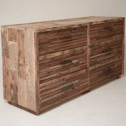 Six Drawer Lake Tahoe Dresser - Beautifully modern 6 drawer dresser functions superbly both in the living area and the bedroom. Can be ordered custom with a door on one side instead of drawers to accommodate media storage! Handmade from Reclaimed Douglas fir, a perfect addition to a modern sustainable habitat.