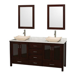 Wyndham Collection - Eco-Friendly Bathroom Vanity with Ivory Marble Sinks - Includes natural stone counter, backsplash, two countertop sinks and matching mirrors. Faucets not included. Four doors and six drawers. Engineered to prevent warping and last a lifetime. Highly water-resistant low V.O.C. finish. 12-stage wood preparation, sanding, painting and finishing process. Floor standing vanity. Deep doweled drawers. Fully extending side-mount drawer slides. Soft-close doors. Concealed door hinges. Single hole faucet mount. Plenty of storage space. Metal hardware with brushed chrome finish. White Carrera marble top. Made from zero emissions solid oak hardwood. Espresso finish. Vanity: 72 in. W x 22.75 in. D x 35 in. H. Mirror: 24 in. L x 33 in. H. Handling Instructions. Assembly Instructions - Countertop. Assembly Instructions - Mirror. Assembly Instructions - SinkContemporary but practical design. The modern design puts a visual emphasis on clean lines, luxurious natural marble, abundant storage for two, and is at home in almost every bathroom decor. You'll never hear a door slam shut again!