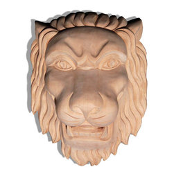 "Inviting Home - Large Jana Lion Head Carving - Red Oak - large carved in red oak hardwood lion head 12""H x 10""W x 6""D Wood carvings are hand carved in deep relief design from premium selected North American hardwoods such as alder beech cherry hard maple red oak and white oak. They are triple sanded and ready to accept stain or paint. Hardwood carvings are perfect for wall applications finishing touches on the custom cabinets or creating a dramatic focal point on the fireplace mantel."