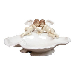 US - 8.75 Inch Porcelain White Footed Shell Dish with Embracing Cherubs - This gorgeous 8.75 Inch Porcelain White Footed Shell Dish with Embracing Cherubs has the finest details and highest quality you will find anywhere! 8.75 Inch Porcelain White Footed Shell Dish with Embracing Cherubs is truly remarkable.