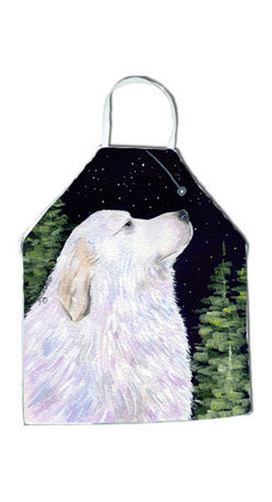 Caroline's Treasures - Starry Night Great Pyrenees Apron SS8470APRON - Apron, Bib Style, 27 in H x 31 in W; 100 percent  Ultra Spun Poly, White, braided nylon tie straps, sewn cloth neckband. These bib style aprons are not just for cooking - they are also great for cleaning, gardening, art projects, and other activities, too!