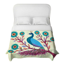 DiaNoche Designs - Blue Peacock Duvet Cover - Lightweight and super soft brushed twill duvet cover sizes twin, queen, king. Cotton poly blend. Ties in each corner to secure insert. Blanket insert or comforter slides comfortably into duvet cover with zipper closure to hold blanket inside. Blanket not included. Dye Sublimation printing adheres the ink to the material for long life and durability. Printed top, khaki colored bottom. Machine washable. Product may vary slightly from image.