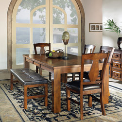 Steve Silver Furniture - Steve Silver Lakewood 6 Piece Dining Room Set w/ Leaf - The Lakewood Collection is a perfect blend of old style meets new. The transitional styling seamlessly blends traditional with modern designs. The Lakewood table is offered in a rich cherry finish and features a 18 Inch leaf comfortably seating six adults.