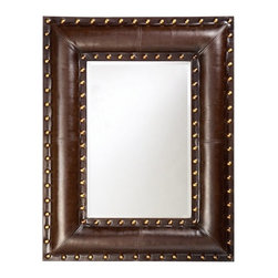 Howard Elliott - Howard Elliott 1339 Palermo Faux Padded Black Leather Mirror w/ Brown Accents - Faux Padded Black Leather Mirror w/ Brown Accents belongs to Palermo Collection by Howard Elliott Upholstered with a dark brown faux leather, is paneled and saddle stitched to give the appearance of real leather. Bright gold leaf studs outline the rectangular frame for a striking Transitional look. Mirror (1)
