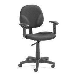 BOSS Chair - Black Fabric Task Chair w Contoured Back, Arm - Bid goodbye to backaches and strains arising from bad posture or poorly designed office chairs. With this ergonomically designed, black fabric Diamond task chair, comfortable posture comes standard. Its simple, clean design incorporates wide, contoured seat and back, with adjustable arm rests and height, making your work or study hours pass by painlessly. Contoured back and seat provides support and helps relieve back strain. Extra large seat and back cushions. Pneumatic gas lift seat height adjustment. Adjustable arms 4 standard fabric colors. Cushion color: Black. Base/wood: Black. Seat size: 19.5 in. W x 18 in. D. Seat height: 17 in. -22 in. H. Arm height: 24 in. -32 in. H. Overall dimension: 25 in. W x 25 in. D x 32-40 in. H. Weight capacity: 250 lbs
