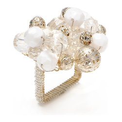 White Crystal Bauble Napkin Ring - Ice-hued glamor is instantly achievable with the White Crystal Bauble Napkin Ring. Drawing its tones from snow, pearls, and silver gilt, this square napkin ring is ideal for achromatic settings, but makes a stark, lovely statement against dark or vivid hues. Rely on this elegant piece as your standby for effortlessly making gatherings feel more opulent. This item is sold as a single unit.
