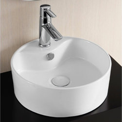 "Caracalla - Round Contemporary Ceramic Vessel Bathroom Sink by Caracalla - This round white ceramic bathroom vessel sink is designed in Italy by Caracalla. The stylish above counter washbasin comes with overflow and a single faucet hole. Sink dimensions: 15.35"" (width), 5.91"" (height), 15.35"" (depth)"