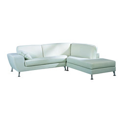 Beverly Hills Furniture Inc. - Julie White Italian Leather Sectional Sofa, Right Chaise - This Julie Italian Leather Sectional is crafted with shiny white top grain leather and kiln dried solid wood frame construction for durability. There is a pocket coil core with polyurethane foam seating and detachable polyurethane back cushions.