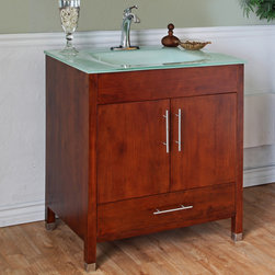 Bellaterra Home - Medium Walnut 32-inch Single Bathroom Vanity and Sink - Constructed with handsome birch,modern tempered glass counter top integrated with a rectangular sink. A medium walnut finish highlights this contempory vanity.
