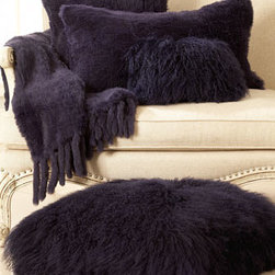 "Adrienne Landau - Adrienne Landau Purple Rabbit Fur Pillow, 15"" x 30"" - Exclusively ours. Adrienne Landau collection lavishes the home in luxurious Mongolian longhair fleece and soft rabbit fur in an exquisite shade of purple. Dyed rabbit fur and Mongolian fleece are from China. All pieces are made in China."
