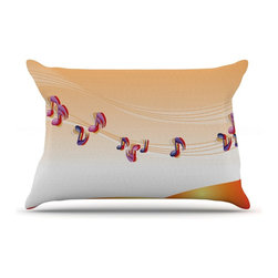 """Kess InHouse - Fotios Pavlopoulos """"Nature Music"""" Orange White Pillow Case, King (36"""" x 20"""") - This pillowcase, is just as bunny soft as the Kess InHouse duvet. It's made of microfiber velvety fleece. This machine washable fleece pillow case is the perfect accent to any duvet. Be your Bed's Curator."""
