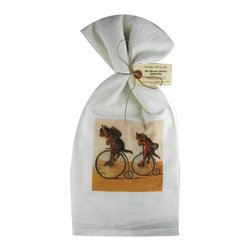 Cats on Bikes   Flour Sack Towel  Set of 2 - A fabulous set of 3 flour sack towels. This set features an adorable antique print of 3 cats on their bicycles.   These towels are printed in the USA by American Workers!