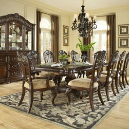 Samuel Lawrence - Baronet Pedestal Dining Room Set - 8366-131A-131B-ROOM - Set Includes Pedestal Table and 4 Side Chairs