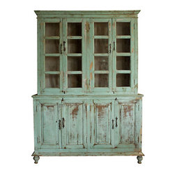 Distressed Wood Cabinet - Swedish-style kitchens were often less formal than the rest of the house as they were purely functional. Antique cabinets were constructed to hold linens and dinnerware. The look of distressed wood finishes is now considered an important aesthetic element.