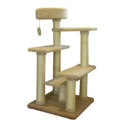 "MAJESTIC PET PRODUCTS - 48"" Kitty Cat Jungle Gym - Your cat will love leaping from platform to platform and scratching the sisal rope-wrapped posts of this carpeted kitty jungle gym. The dangling cat toy will keep her even busier. Once she's worn out, she can choose a platform on which to nap. Easy for humans to assemble."