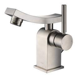 Kraus - Kraus Unicus Single Lever Basin Faucet Brushed Nickel - *One of a kind design, sleek lines in a bright polished chrome appearance brings an implied look to any bathroom decor