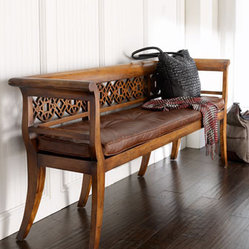 """Leighton"" Wood & Leather Settee"