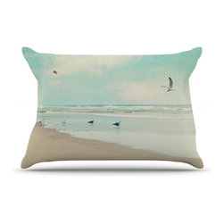 "Kess InHouse - Sylvia Cook ""Away We Go"" Beach Seagull Pillow Case, King (36"" x 20"") - This pillowcase, is just as bunny soft as the Kess InHouse duvet. It's made of microfiber velvety fleece. This machine washable fleece pillow case is the perfect accent to any duvet. Be your Bed's Curator."