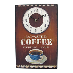 Roasted Coffee Espresso Metal Wall Clock 15 x 10 In. - This richly-colored wall clock features a retro coffee-house design that any coffee lover can admire. The metal face, with bold colors and a warm distressed design, portrays a warm cup of espresso and `Roasting Coffee Espresso Bold` in antique diner-style font. It measures 15 inches long, 10 inches wide, and 1 inch deep. The clock has an open face and runs with quartz synchronization on one AA battery. Hanging slots in all four corners and on the clock instrument allow easy and stable bolstering on most walls. Open up your own cafe in your kitchen (roasting coffee scent not included!).