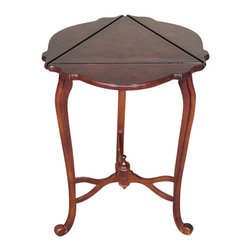 Vintage Burl Walnut Triangular Dropleaf  Side Table - This is a beautiful vintage occasional burl walnut triangular table with dropleaves. It features a unique and gorgeous triangular top surface with 3 shaped and scalloped drop leaves. In addition it has lovely curved legs with scroll feet and a fancy stretcher with finial. This piece may show minor wood imperfections and one leg is slightly warped but as shown it is overall in very good cosmetic and structural condition and it is strong and sturdy. It is a beautiful piece that will make a lovely addition to any room.