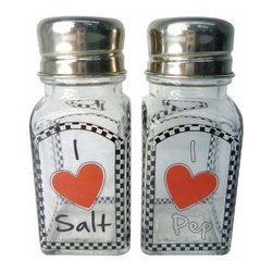 WL - 4 Inch Glass Salt and Pepper Shakers with I Love Salt and Pep Hearts - This gorgeous 4 Inch Glass Salt and Pepper Shakers with I Love Salt and Pep Hearts has the finest details and highest quality you will find anywhere! 4 Inch Glass Salt and Pepper Shakers with I Love Salt and Pep Hearts is truly remarkable.