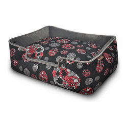 P.L.A.Y. - P.L.A.Y. Skulls & Roses Lounge Bed Large - This P.L.A.Y. Skulls andRoses lounge bed will make your pet feel like a rock star whenever it chooses to nap or rest in the bed. It is perfect for your pet to feel pampered, and the elevated sides are ideal for your pet to rest its head on. The amazingly soft material on this bad can be machine washed easily and even dried using a drier. Give your pet ideal comfort with this Skulls andRoses lounge bed.    Ultra-soft velvet material with custom-made P.L.A.Y. zipper.  Furniture-grade craftsmanship and even-basting stitching ensures dog-years of use.  Filled with the perfect amount and density of high-loft PlanetFill filler.  Eco-friendly PlanetFill filler is made from 100% post-consumer certified-safe recycled plastic bottles.  Machine washable and dryer friendly.