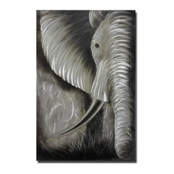 Pure Art - Gentle Observer Elephant Wall Art - An arresting depiction of an African elephant's face, this unusual metal artwork features intricate detailing in the folds and wrinkles of the skin, the highlighting of the tusk, the trunk and prairie grass. The artist has captured the intelligence and compassion of these gentle giants in the creation of the eye: A wonderful tribute to one of the planet's most fascinating creaturesMade with top grade aluminum material and handcrafted with the use of special colors, it is a very appealing piece that sticks out with its genuine glow. Easy to hang and clean.
