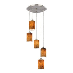 Design Classics Lighting - Modern Multi-Light Pendant with Cylinder Art Glass and 5-Lights - 580-09 GL1001C - Satin nickel finish modern multi-light pendant light with warm brown art glass cylinder shades and five lights. Includes one satin nickel five port ceiling canopy. Each mini-pendant comes with 7-feet of clear cuttable cord that allows for custom height adjustability for each pendant. Takes (5) 100-watt incandescent A19 bulb(s). Bulb(s) sold separately. UL listed. Dry location rated.