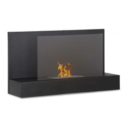"""Ignis Fireplaces - Ignis Ater BK, Wall Mounted Ethanol Fireplace - Send out a vibe that beckons others to draw near relax and unwind in front of this Ater BK Wall Mounted Ventless Ethanol Fireplace. This wall mount fireplace unit is easy to hang on your wall thanks to included mounting hardware and it comes with everything you need to get started right out of the box. This easy-to-use fireplace is equipped with an ethanol burner that provides 6 000 BTUs of heat so you'll stay warm and toasty in front of this unit in most rooms. Designed to make use of your vertical wall space this sleek black stainless steel and glass unit is perfect for contemporary decor. Dimensions: 35.4"""" x 19.75"""" x 11""""."""