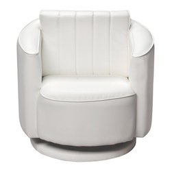 Gift Mark - Gift Mark Home Kids Children Adult Upholstered Swivel Chair White - The Gift Mark White Swivel Chair for children is truly a new and unique child's seat. Made with a solid and sturdy swivel base this chair swivels 360 degrees, and has the look and feel of fine leather. Made with an extremely thick cushion and padding, you will have no problems convincing your child to have a seat in this luxurious chair. In fact, your child will enjoy the seat so much, you will have a hard time getting them out of the chair.