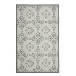"Safavieh - Light Grey/Anthracite Border Indoor/Outdoor Rug (5'3"" x 7'7"") - This light gray indoor outdoor rug will add style to your patio, pool lounge area, or deck. The power-loomed area rug features weather-resistant fibers that make it ideal for outdoor use. It can also be used indoors as a low-maintenance rug."
