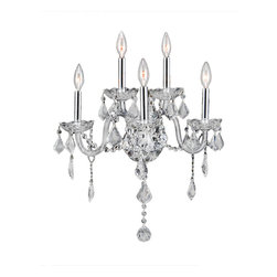 """Worldwide Lighting - Provence 5 Light Chrome Finish Crystal Wall Sconce Light 13"""" x 18"""" - This stunning 5-light Crystal Wall Sconce only uses the best quality material and workmanship ensuring a beautiful heirloom quality piece. Featuring a radian Chrome finish and finely cut premium grade clear crystals with a lead content of 30%, this elegant wall sconce will give any room sparkle and glamour. Worldwide Lighting Corporation is a privately owned manufacturer of high quality crystal chandeliers, pendants, surface mounts, sconces and custom decorative lighting products for the residential, hospitality and commercial building markets. Our high quality crystals meet all standards of perfection, possessing lead oxide of 30% that is above industry standards and can be seen in prestigious homes, hotels, restaurants, casinos, and churches across the country. Our mission is to enhance your lighting needs with exceptional quality fixtures at a reasonable price."""