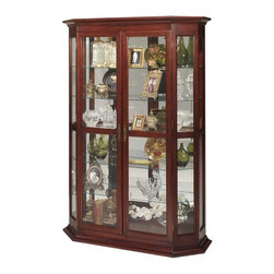 Jasper Cabinets - Hexagonal Front Display Curio Cabinet w Halog - Showcase family heirlooms or art pieces in this classic curio cabinet, featuring a hexagonal front for added interest. The piece is made of wood in dark cherry finish and is highlighted by adjustable glass shelves and halogen touch lights to better display your treasured pieces. Hand rubbed. Screwed on wood backs. Mirrored back. Door Locks. Four adjustable glass shelves with plate grooves. One stationary shelf with plate grooves. Brass shelf supports. Halogen lighted with touch light and dimmer. Beveled glass doors and sides. Adjustable floor levelers. Made from solid wood and veneers. Assembly required. 18 in. W x 52 in. L x 78 in. H (220 lbs.)Jasper Cabinet's large selection of curios are made to meet our long standing tradition of excellence.