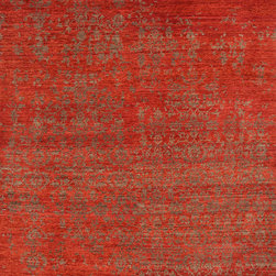 Jaipur Rugs - Hand-Knotted Abstract Pattern Wool Red/Brown Area Rug ( 8x11 ) - Unearth new styles to complete your contemporary space. The Geode Collection, a beautiful range of 100-line Tibetan weave designs interpret organic and deconstructed damask patterns. Artfully crafted in a blend of hand-spun wool and art silk, each piece possesses a dense, high-quality weave for luxe softness.