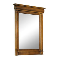 Kaco International Inc. - Kaco 348-2200 John Adams Large Vanity Mirror - This John Adams style mirror features American Parlor styling constructed with select hardwoods. Coordinating Vanities and Granite vanity tops are available in four stone colors for this exquisite bath mirror. The John Adams Collection has a Sherwin Williams multi-step finish of brown cherry utilizing water resistant technology. The vanity compliments the John Adams vanities and embellishes the same features and style as the cabinet. This attractive mirror would be a great addition to any sophisticated bath.